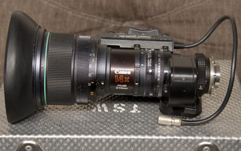 Canon J14x8 B4 IRS (shown on Sony DSR130)